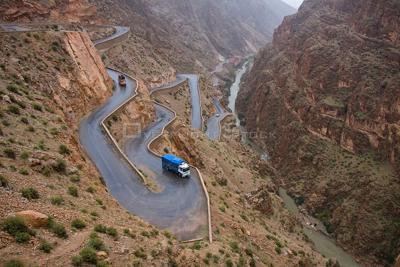 Switchback / hairpin bends in Dades Gorge, Atlas Mountains, Morocco. November 2008.
