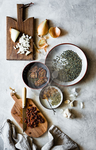 Ingredients for smoky lentil tacos