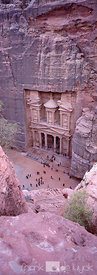 Aerial view of the Treasury at ancient Petra.
