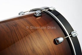 Detail of battery bass drum on diagonal wooden
