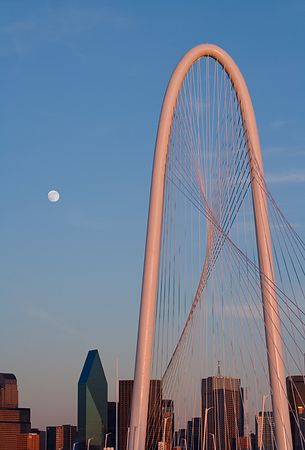 Margaret Hunt Hill Bridge and the Moon