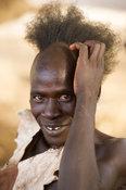 Hamer boy to become a man at his Hamer Bull Jumping Ceremony, Turmi, South Omo Valley, Ethiopia