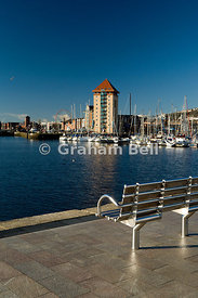 view across river tawe from the SA1 development towards the marine quarter swansea south wales uk