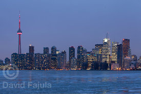 Toronto skyline at dusk, with the Canada National Tower (AKA CN Tower) on the lest (View from Toronto Island)