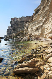 Coast cliffs near Bonifacio, Corsica, France, Europe