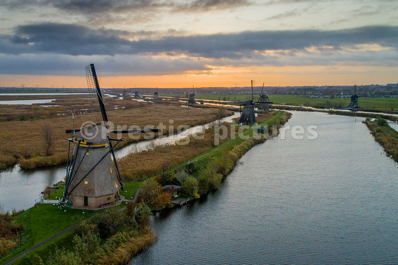 WIndmills galore at Kinderdijk in the Netherlands from the air