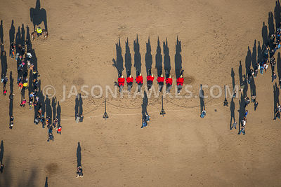 Changing of the guard, Horse Guards Parade, London. Aerial view