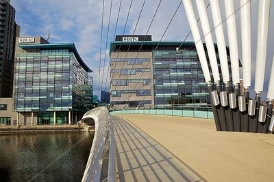 BBC Buildings Bridge House and Quay House viewed from the Media City Footbridge