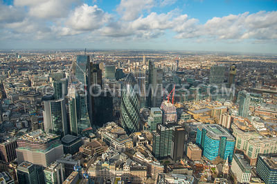 Aerial view of City of London, construction of The Scalpel, 70 St Mary Axe, 100 Bishopsgate.