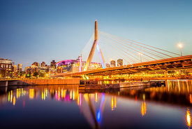 Zakim Bunker Hill Bridge at Night Boston Photo