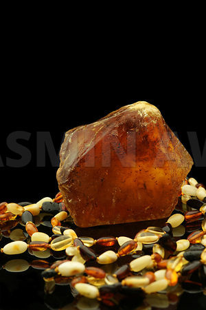Raw Amber with Necklace
