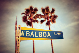 Balboa Blvd Street Sign Newport Beach Photo