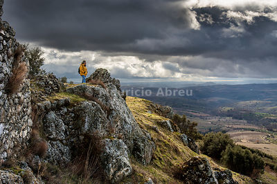 On the top of Outeiro de Miranda castle, dating back to the 13th century. Tras-os-Montes, Portugal (MR)