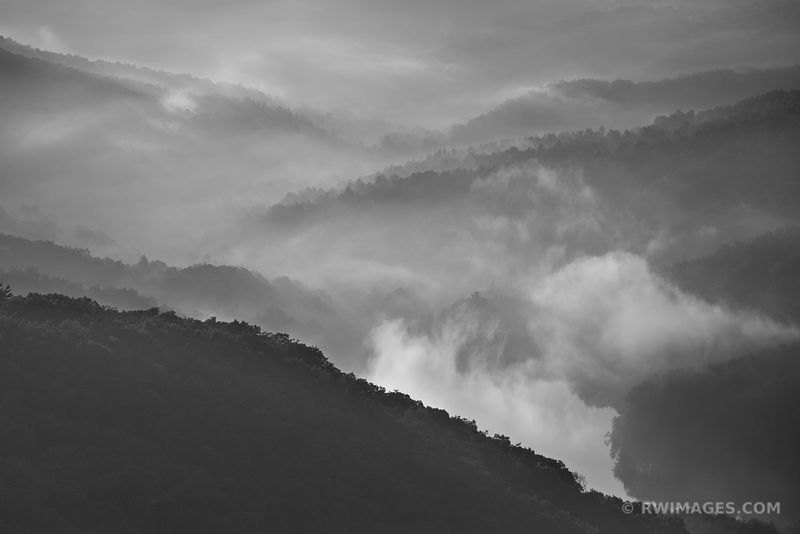 MOORMANS RIVER OVERLOOK SHENANDOAH NATIONAL PARK VIRGINIA BLACK AND WHITE