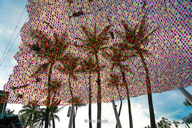 Looking at coconut trees through a colorful net at Siloso Beach Resort in Sentosa, Singapore