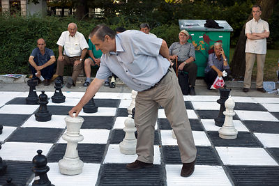 Bosnia - Sarajevo - Men play outsize chess in a park