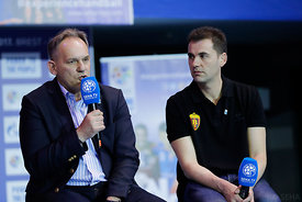 Sinisa Ostoic and Raul Gonzales during the Final Tournament - Final Four - SEHA - Gazprom league, Handball discussion in Brest, Belarus, 06.04.2017, Mandatory Credit ©SEHA/ Stanko Gruden