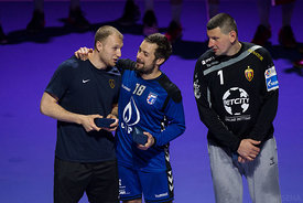 Ziga Mlakar, Zlatko Horvat and Arpad Sterbik during the Final Tournament - Final match - PPD Zagreb vs Vardar - Final Four - SEHA - Gazprom league, Skopje, 15.04.2018, Mandatory Credit ©SEHA/ Sasa Pahic Szabo