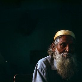 Chand Baba, an elderly magician, Shadipur Depot, Delhi, India