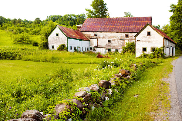 OLD BARN BUILDINGS RURAL VERMONT COLOR