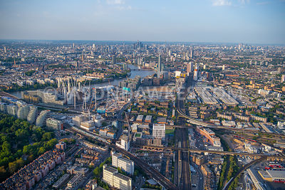 Aerial view over Nine Elms and Battersea, London.
