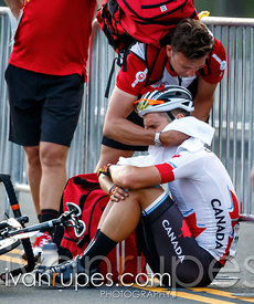 Emotional Guillaume Boivin after he was outsprinted at the finish of the men's road race, Toronto 2015 Pan Am Games, Toronto, On; July 25, 2015