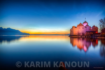 Colorful Chateau Chillon at sunset time
