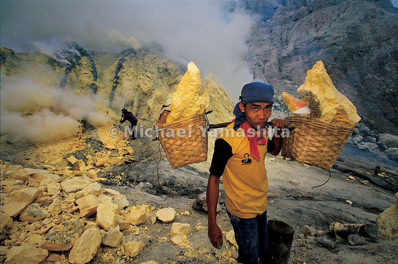Another precious Indonesian commodity, sulfur, is still mined from active volcanic vents in Ijen Volcano, East Java, Indonesia.