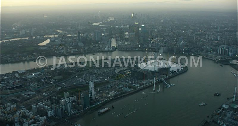 London Aerial Footage Greenwich Peninsula with Silvertown.