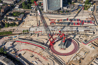 Aerial view of West London, crane on construction site.