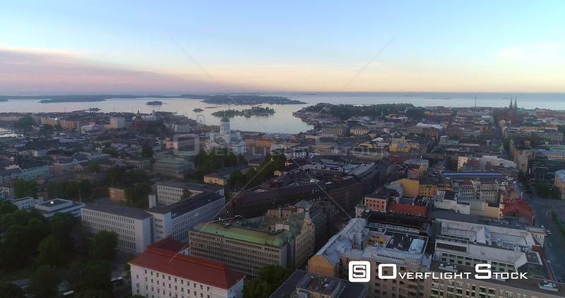 Sunrise in a City, Aerial View Towards Helsinki South Harbour and the Cathedral, on a Sunny Summer Morning Dawn, in Helsingfors, Uusimaa, Finland