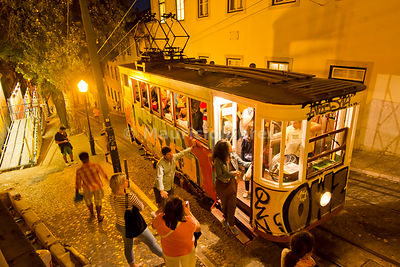 Elevador da Glória, a funicular tram dating back to 1885. Lisbon, Portugal