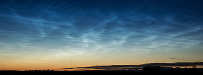 A single perseid meteor and noctilucent clouds on August 12 2016.