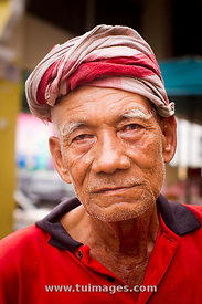 face of elder old asian man