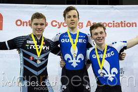 Junior Men Keirin Podium. 2016/2017 Track O-Cup #3/Eastern Track Challenge, Mattamy National Cycling Centre, Milton, On, February 11, 2017