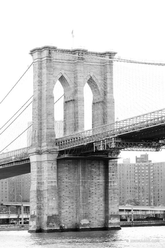 BROOKLYN BRIDGE MANHATTAN NEW YORK CITY BLACK AND WHITE VERTICAL