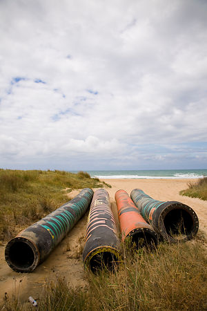 Pipes on the beach