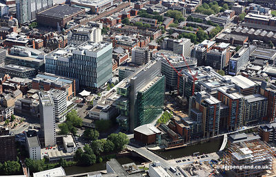 aerial photograph the Manchester Civil Justice Centre and vicinity England UK.