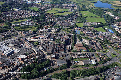 Bolton Street  Bury town Centre,  Bury Greater Manchester from the air