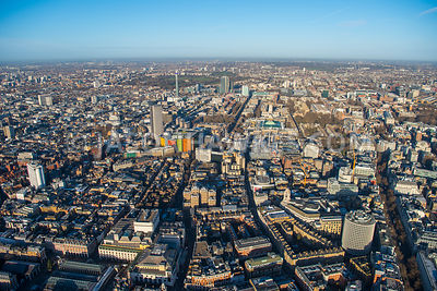 Aerial view of London, Covent Garden Piazza with Drury Lane and Endell Street towards Central St Giles and Centrepoint.