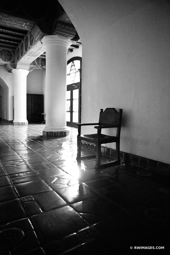 SANTA BARBARA CITY HALL INTERIOR ARCHITECTURE BLACK AND WHITE