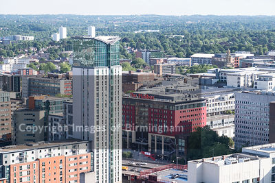 Aerial photograph of Birmingham City Centre, England. The Mailbox shopping centre.