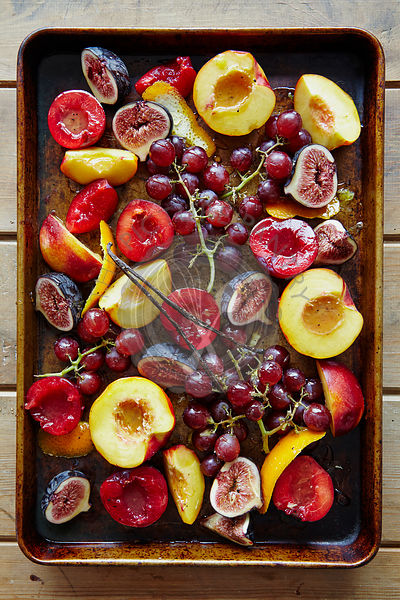 Roasted Fruit with Vanilla on Baking Tray