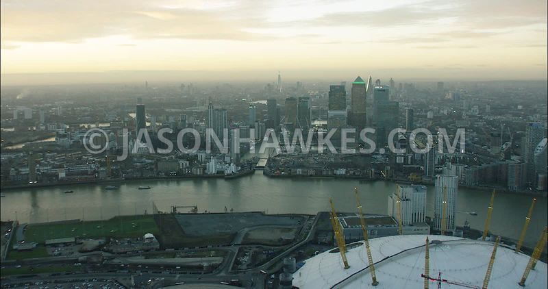 London Aerial Footage of Canary Wharf with Docklands.