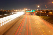 Blurred lights on busy Texas highway