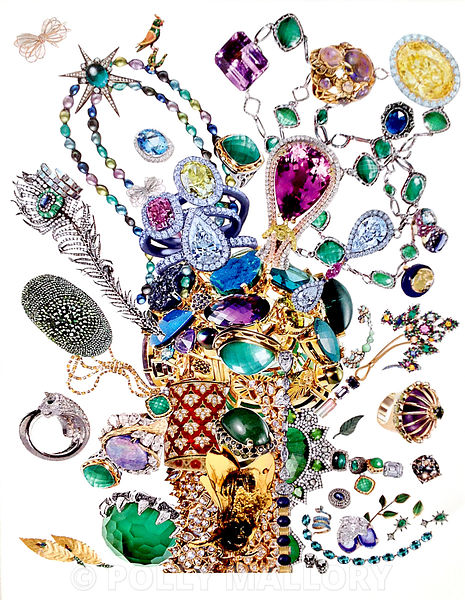 Society of Gardners: Bouquets of Jewelry, collage on paper photos