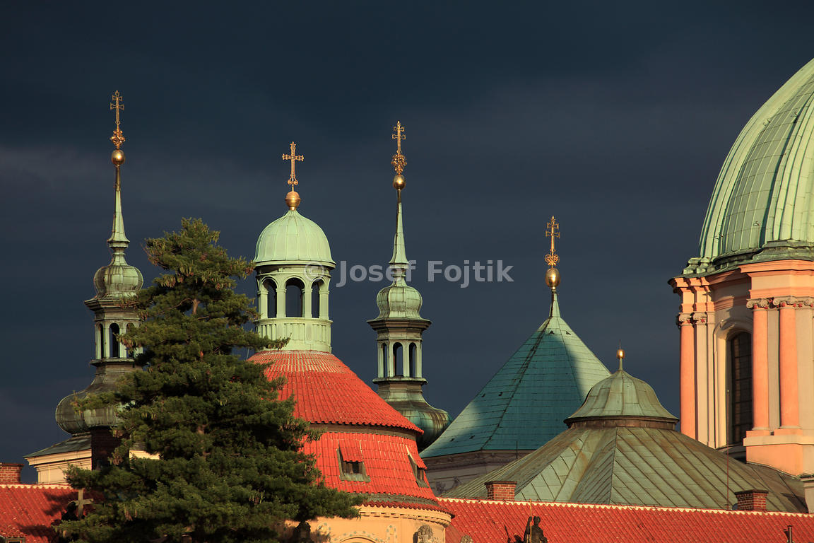 Prague towers. On the right the Dome of the Church of Saint Francis Seraph, Prague, Czech Republic
