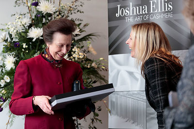 Princess Anne visiting textiles company Joshua Ellis in Batley to mark the cashmere specialist's 250th anniversary..with Kristie Reeves Design and Sales director