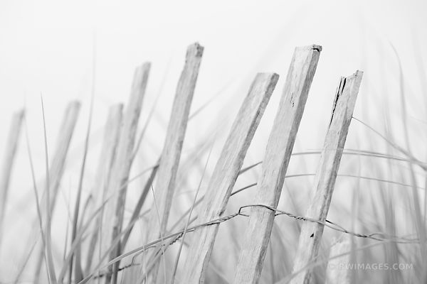 WEATHERED WOODEN BEACH FENCE CAPE COD BLACK AND WHITE COAST GUARD BEACH EASTHAM MASSACHUSETTS