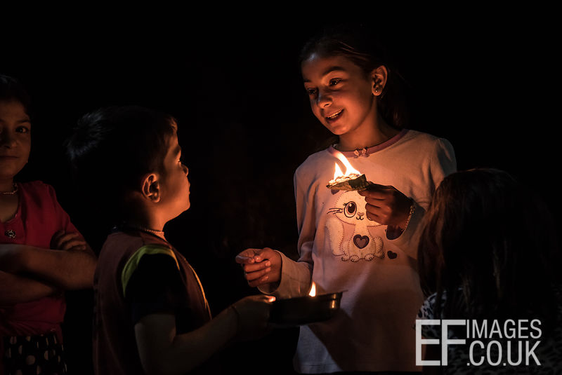 Persecuted Minority Group Children Celebrate Sere Sal, Or Yazidi New Year With Oil Lamps In Lalish, Iraqi Kurdistan. 19th April 2017